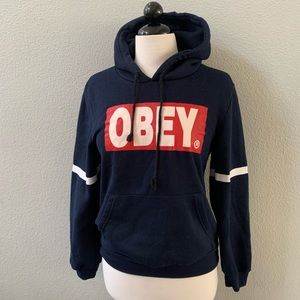 OBEY box logo navy blue graphic hoodie sweatshirt